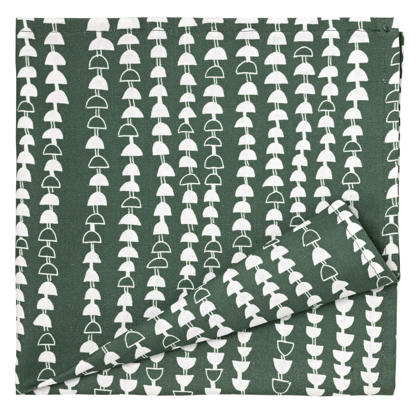 Hopi Patterned Cotton Linen Napkins in Dark Moss Green