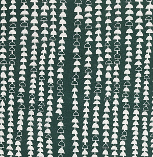 Hopi Graphic Strung Bead Pattern Linen Cotton Designer Home Decor Fabric for curtains, blinds, upholstery in Dark Moss Green Forest Canada USA