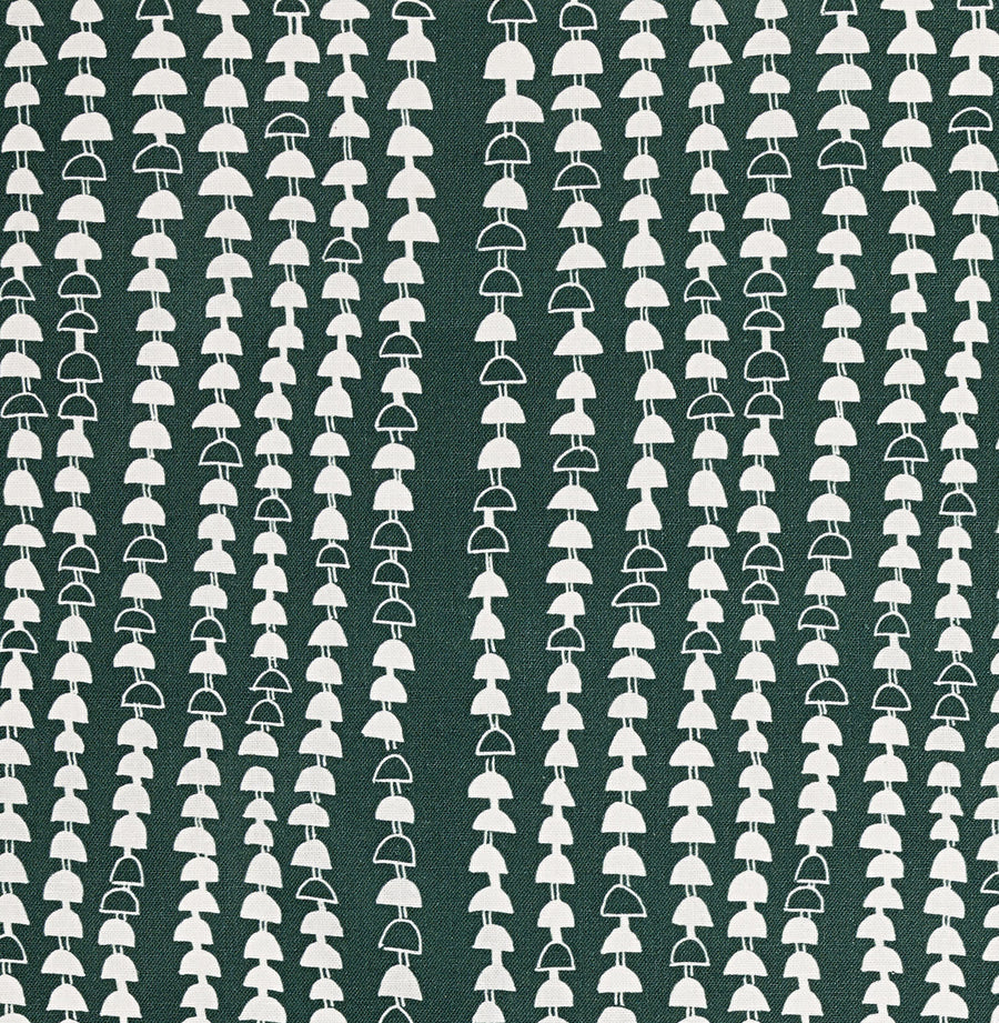 Hopi Graphic Strung Bead Pattern Linen Cotton Fabric in Dark Moss Green