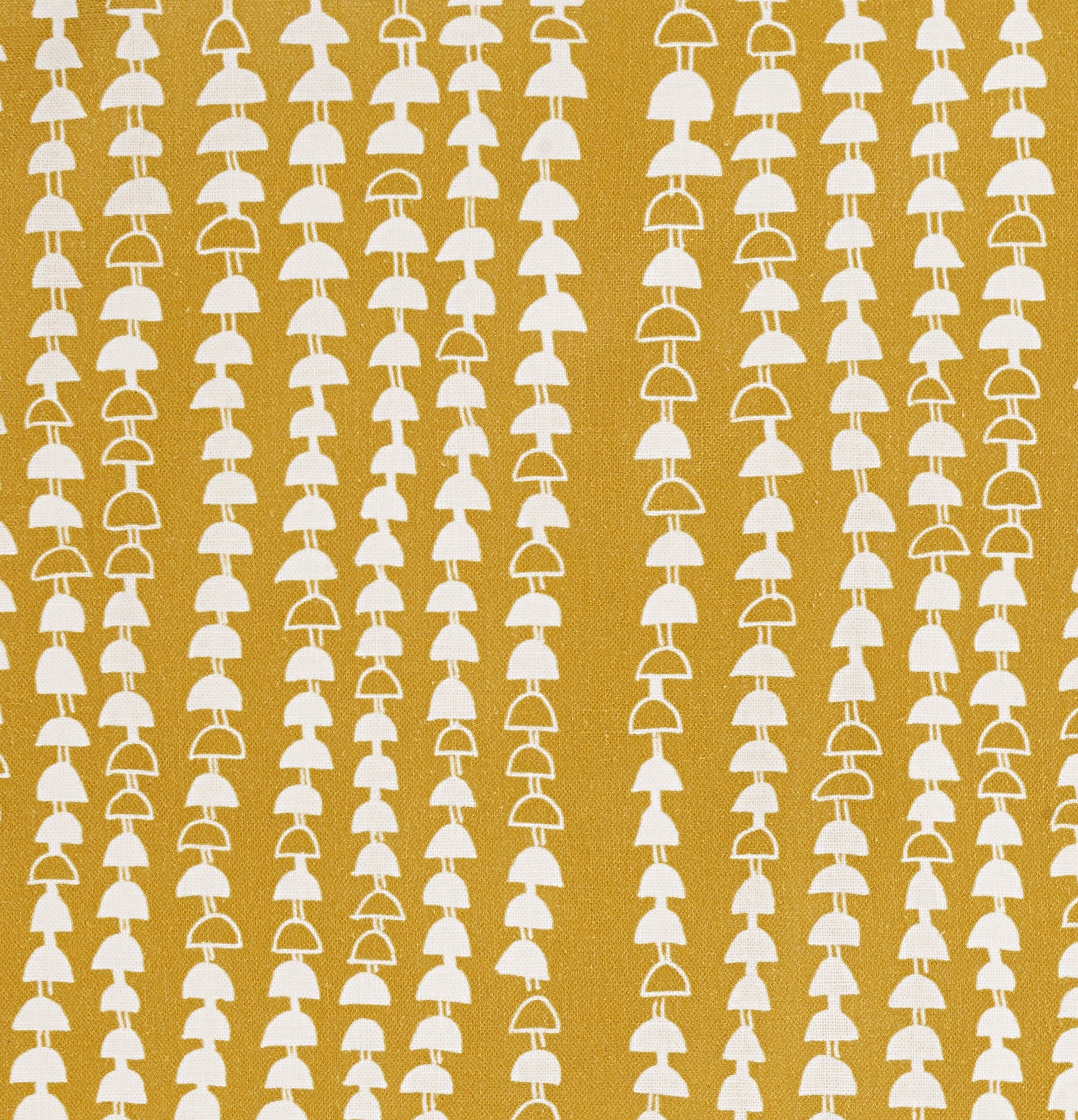Hopi Graphic Strung Bead Pattern Linen Cotton Designer Home Decor Fabric for curtains, blinds, upholstery in Mustard Gold ships from Canada, USA
