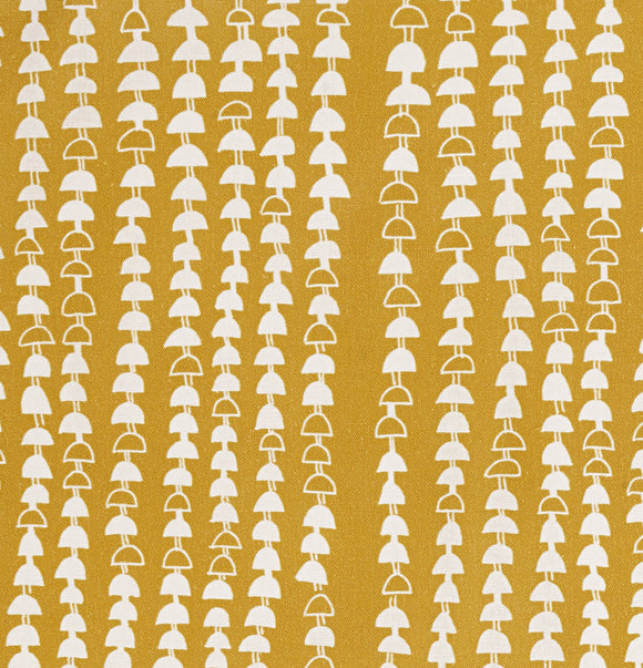 Hopi Graphic Strung Bead Pattern Linen Cotton Fabric in Mustard Gold