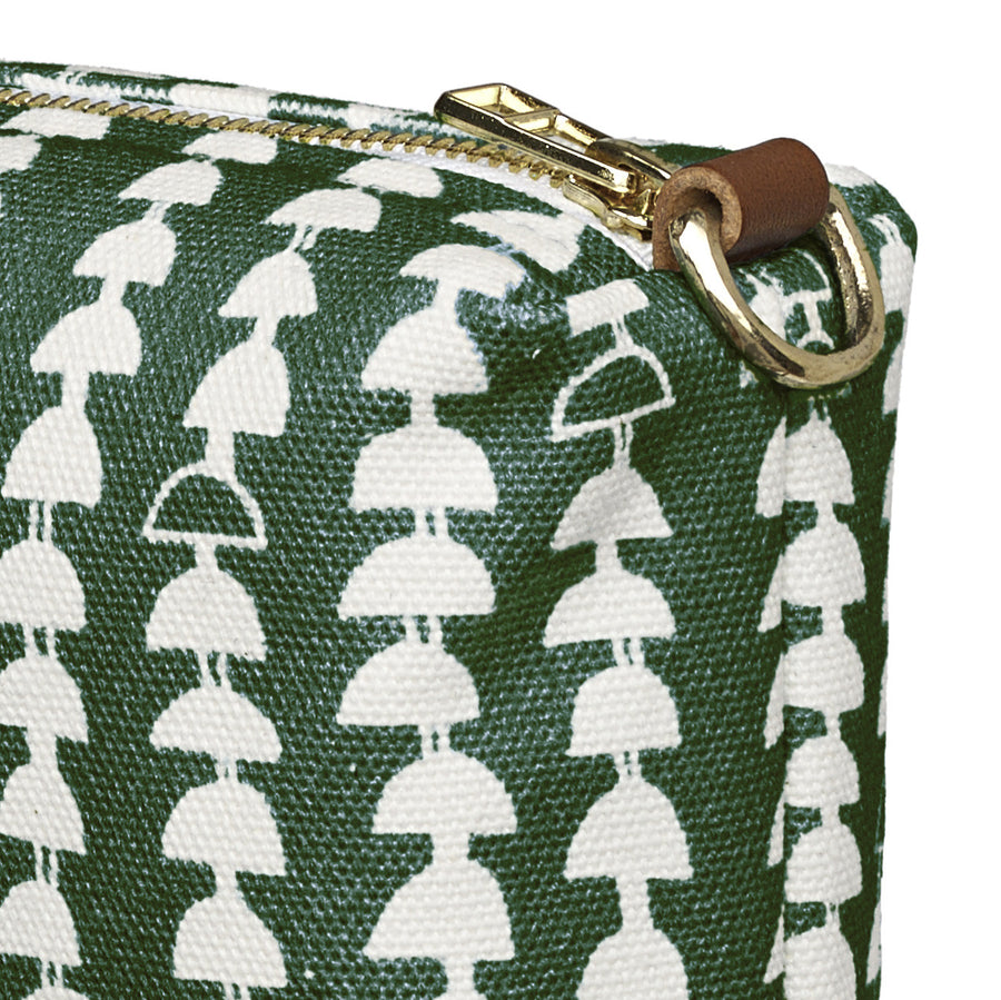 Hopi Graphic Pattern Canvas Wash Bag in Dark Moss Green