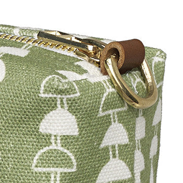 Hopi Graphic Pattern Canvas Wash Bag in Light Avocado Green