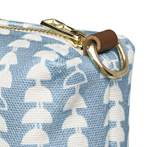 Hopi Graphic Pattern Canvas Wash Bag in Light Chambray Blue