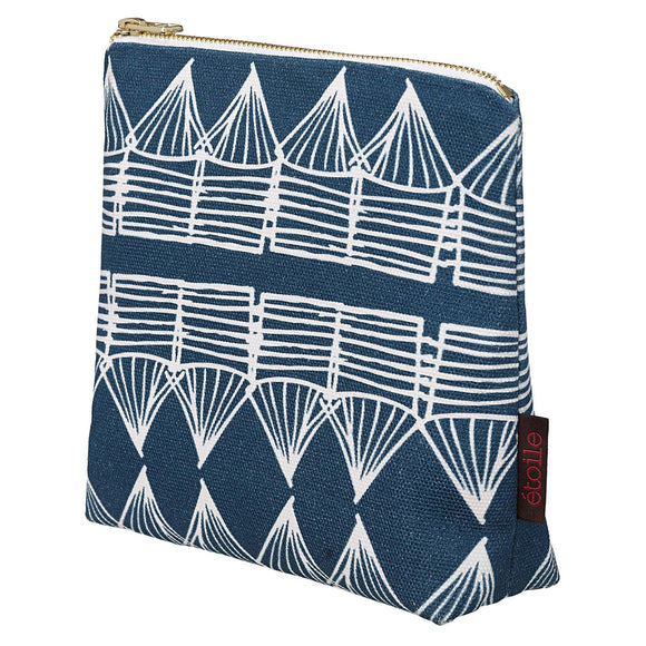 Tiki Huts Pattern Cotton Canvas Cosmetic Bag in Dark Petrol Blue