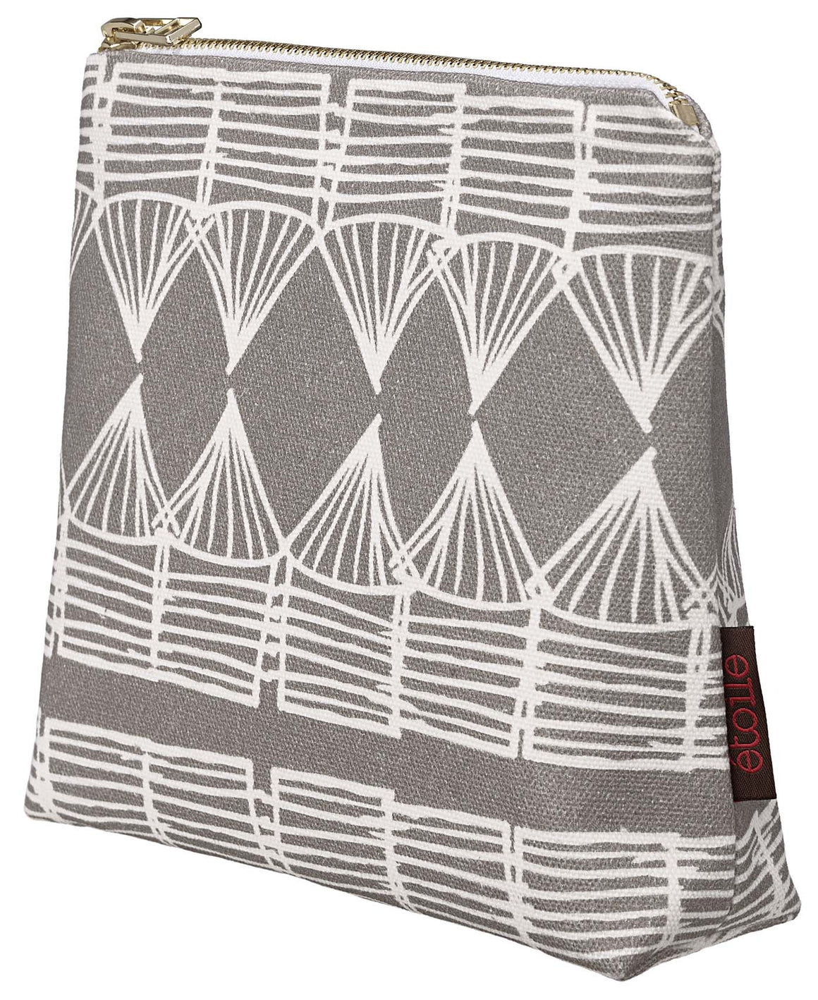 Tiki Huts Pattern Cotton Canvas Cosmetic Bag in Light Dove Grey