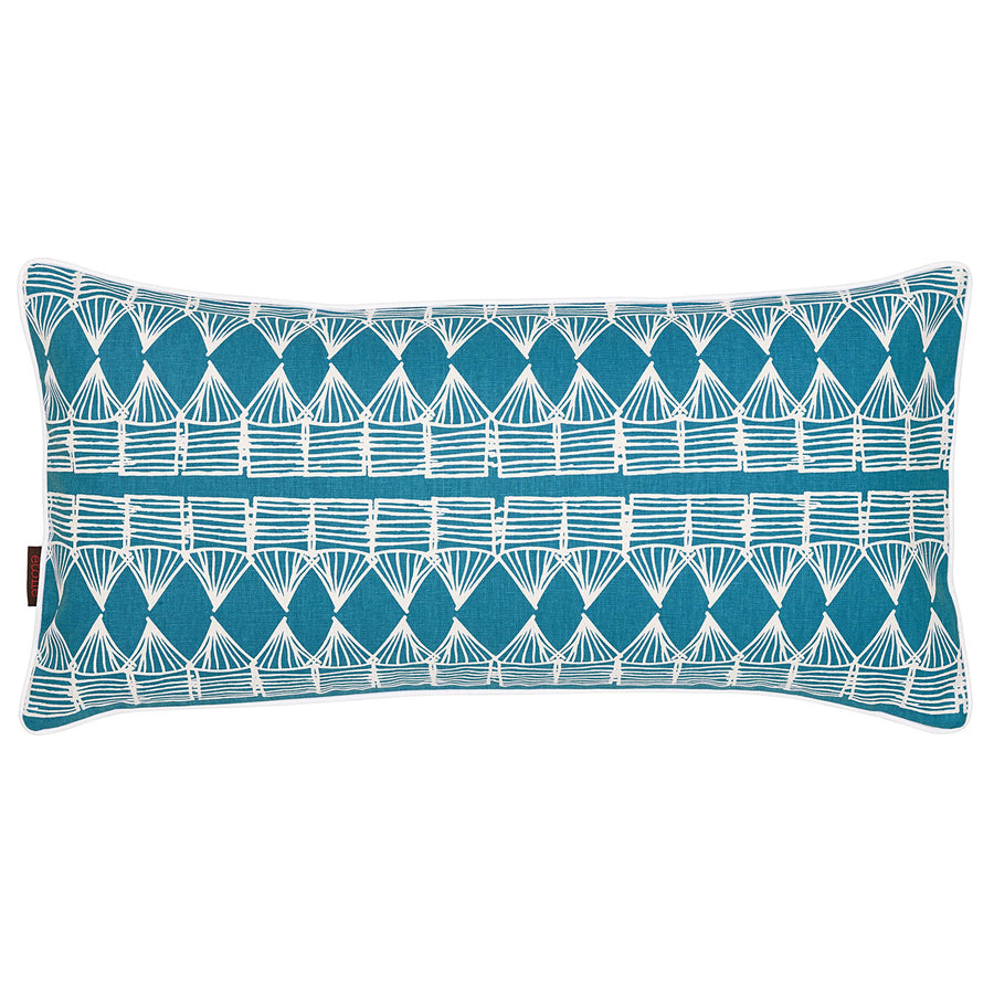 Tiki Huts Pattern Rectangle Linen Cushion in Bright Turquoise Blue 30x60cm