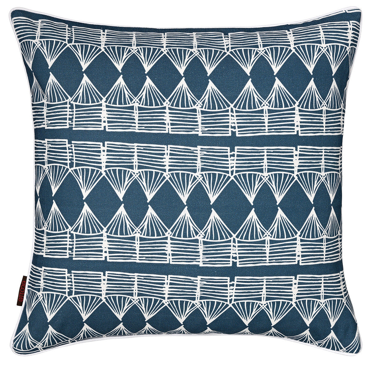 "Tiki Huts Pattern Linen Cotton Throw Pillow Cushion in Dark Petrol Blue 45x45cm 18x18"" ships from Canada worldwide including the USA"