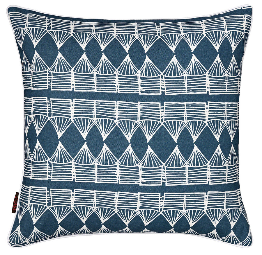 Tiki Huts Pattern Linen Cotton Cushion in Dark Petrol Blue