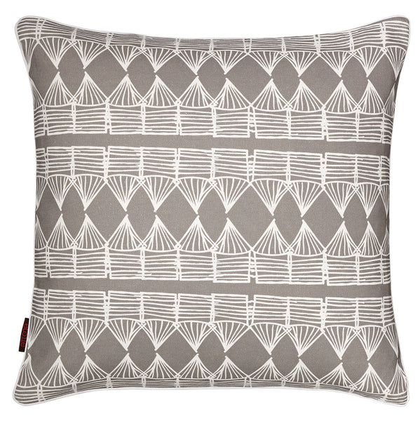 Tiki Huts Pattern Linen Cushion in Light Dove Grey 45x45cm