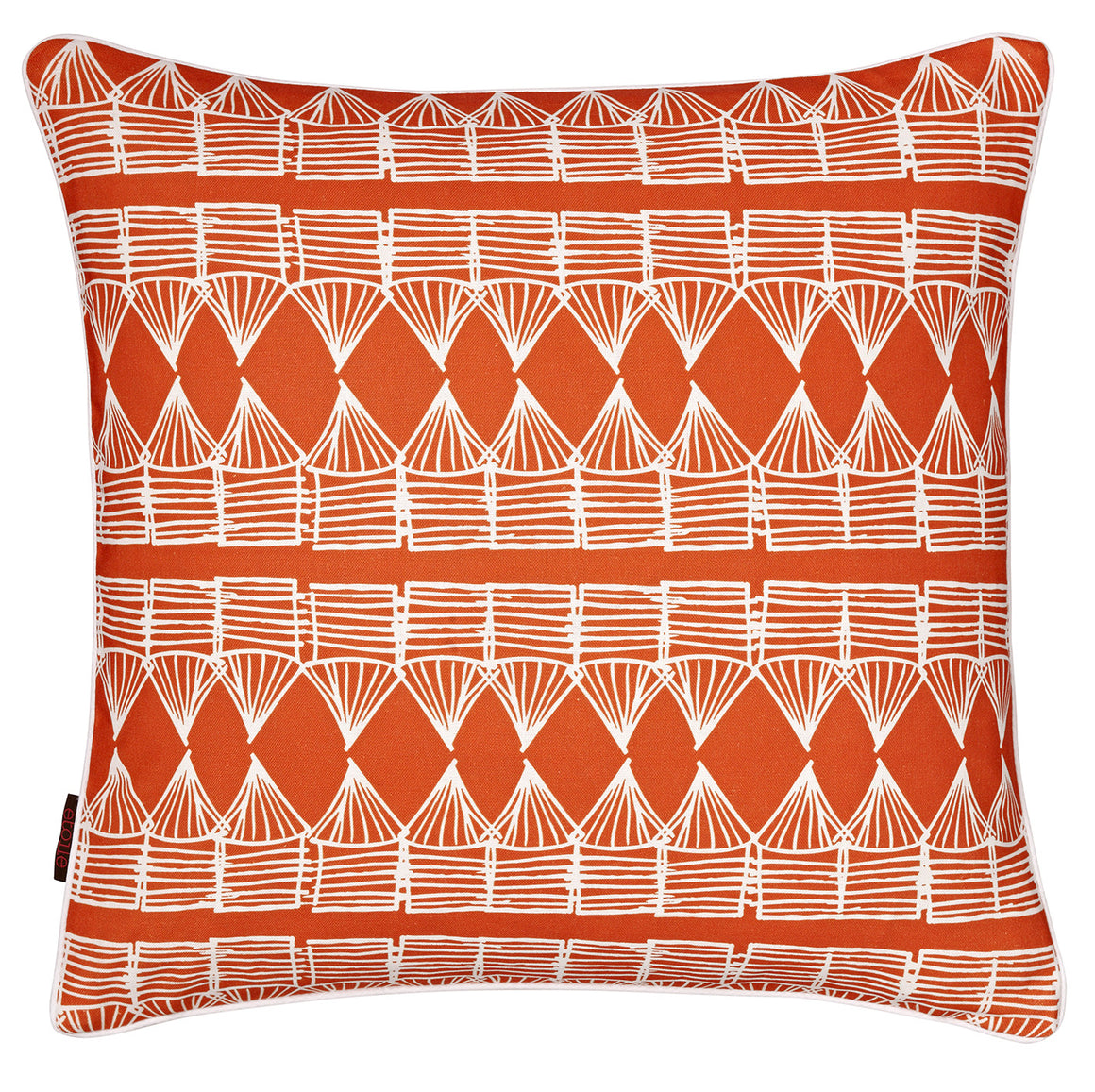 Tiki Huts Pattern Cotton Linen Cushion 45x45cm in Bright Pumpkin Orange