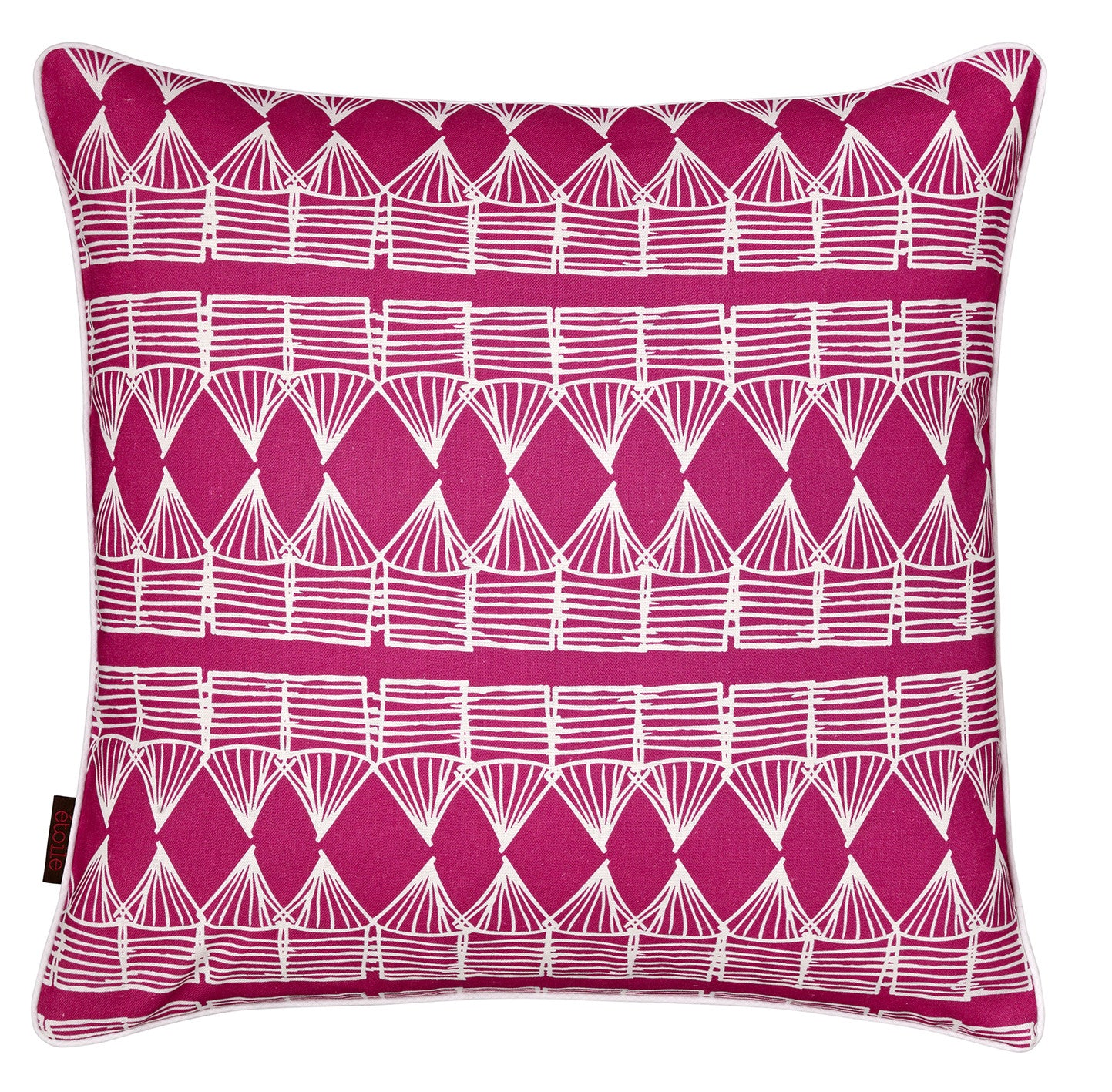 "Tiki Huts Pattern Linen Cotton Throw Pillow in Hot Fuchsia Pink 45x45cm 18x18"" Ships from Canada worldwide including the USA"