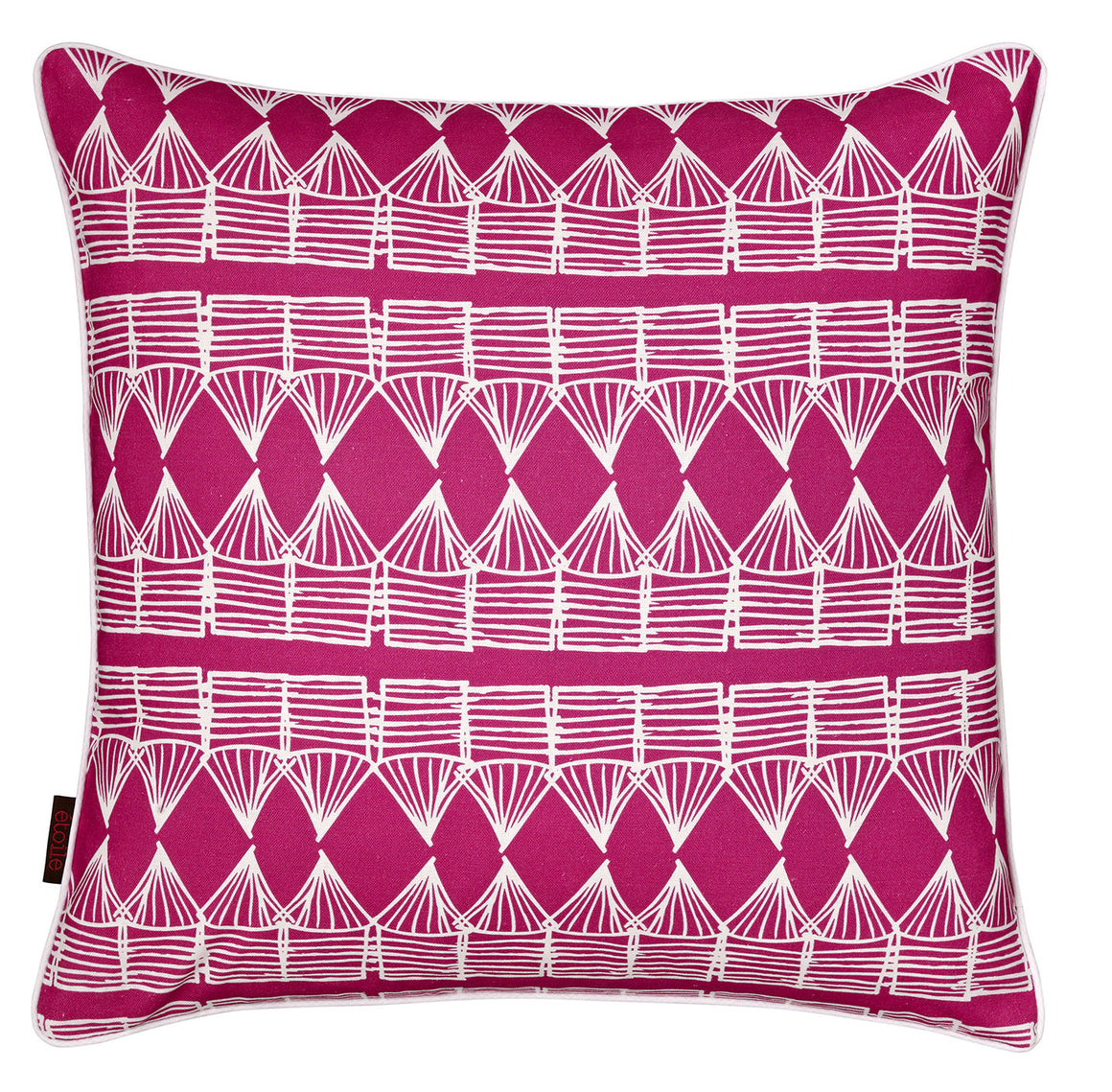 Tiki Huts Pattern Linen Cotton Cushion in Hot Fuchsia Pink 45x45cm