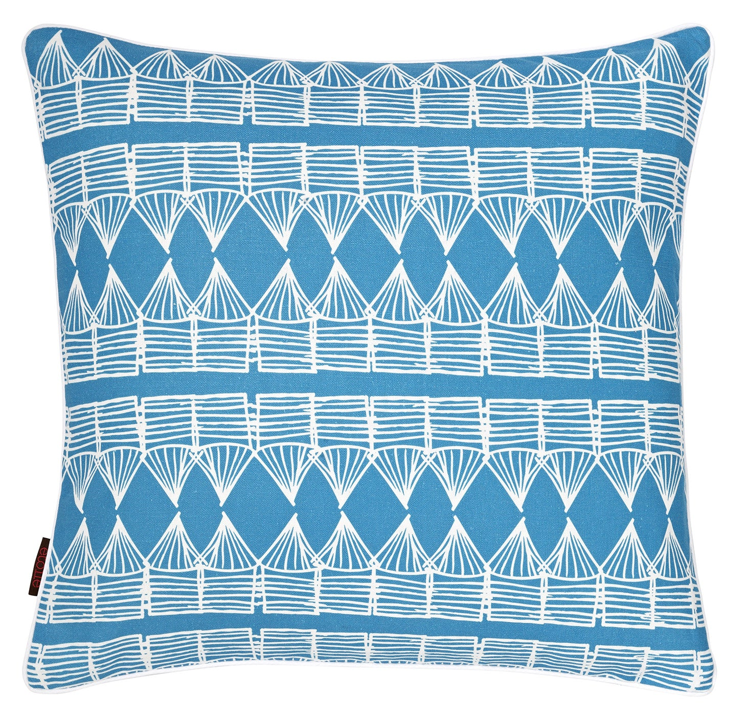 "Tiki Huts Pattern Linen Throw Pillow Cushion in Bright Turquoise Blue 45x45cm 18x18"" ships from Canada worldwide including the USA"