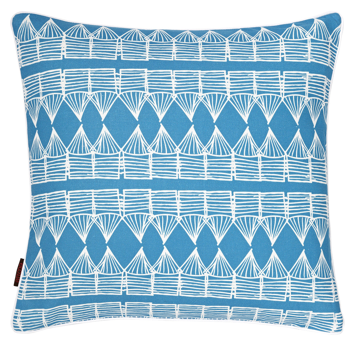 Tiki Huts Pattern Linen Cushion in Bright Turquoise Blue