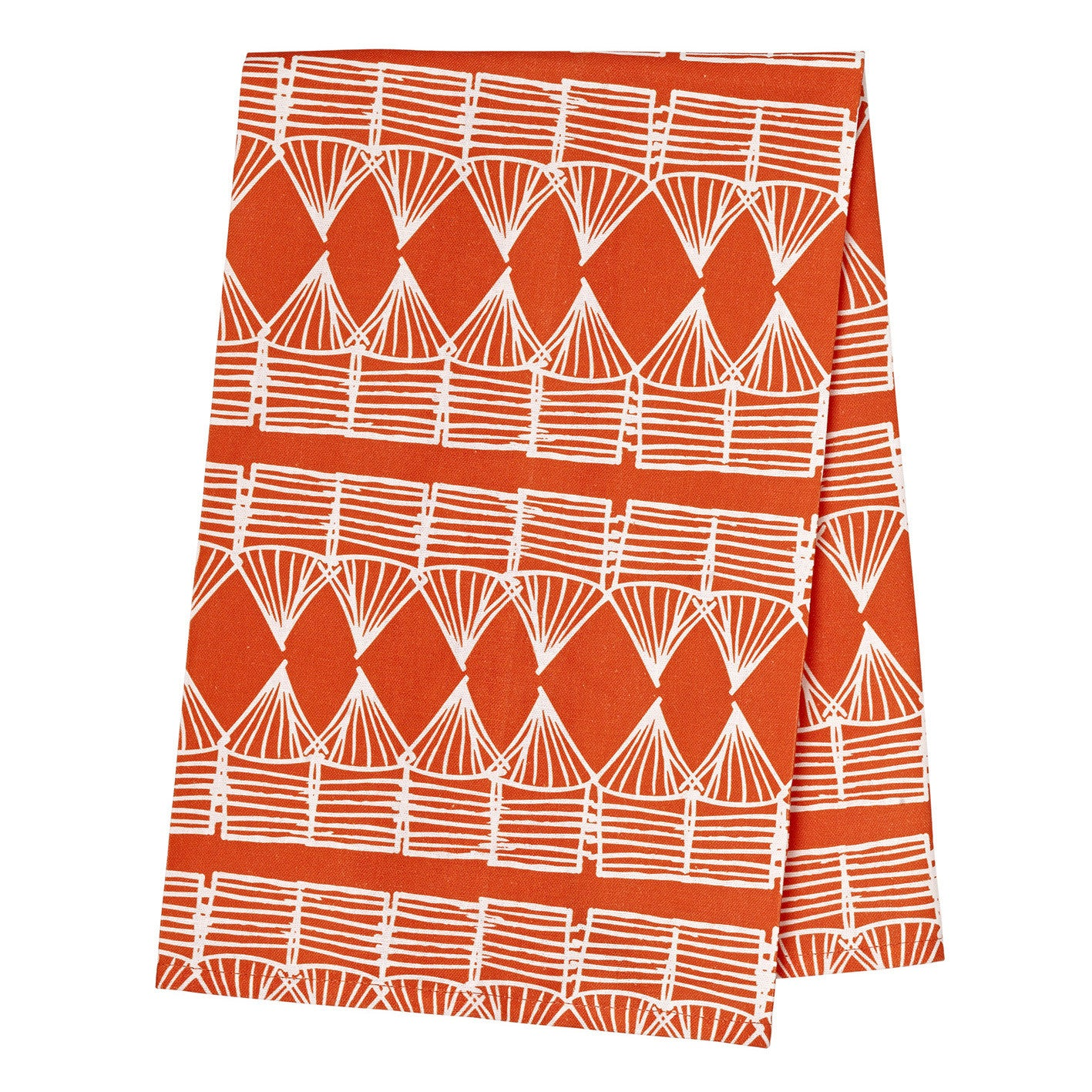 Huts Tea Towel - Pumpkin Orange