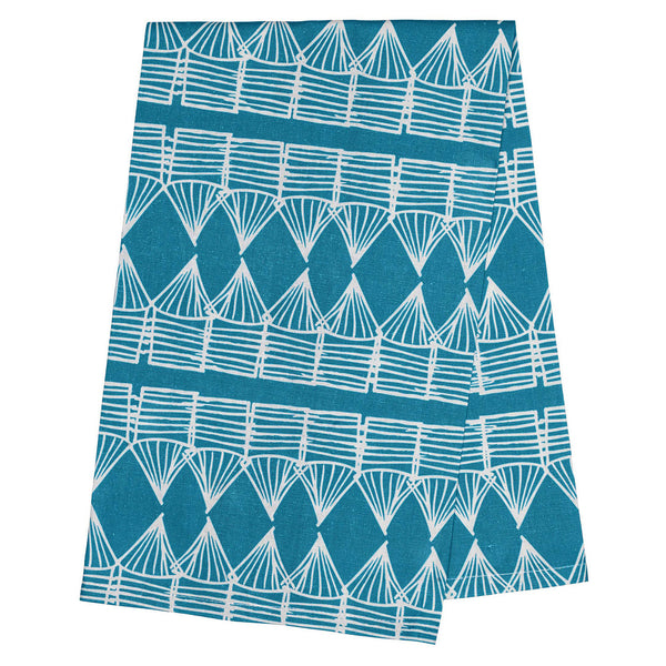 A Jewel Toned Turquoise Striped Tea Towel from Dunroven House. % Cotton just Waiting for Your Embroidery - How About Some SouthWest Designs! You can add an Applique too.