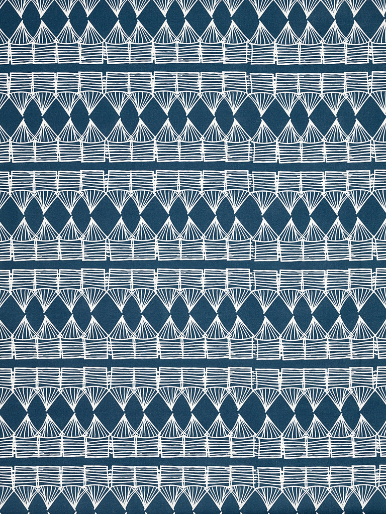 Tiki Huts Pattern Cotton Linen Fabric by the meter in Dark Petrol Blue