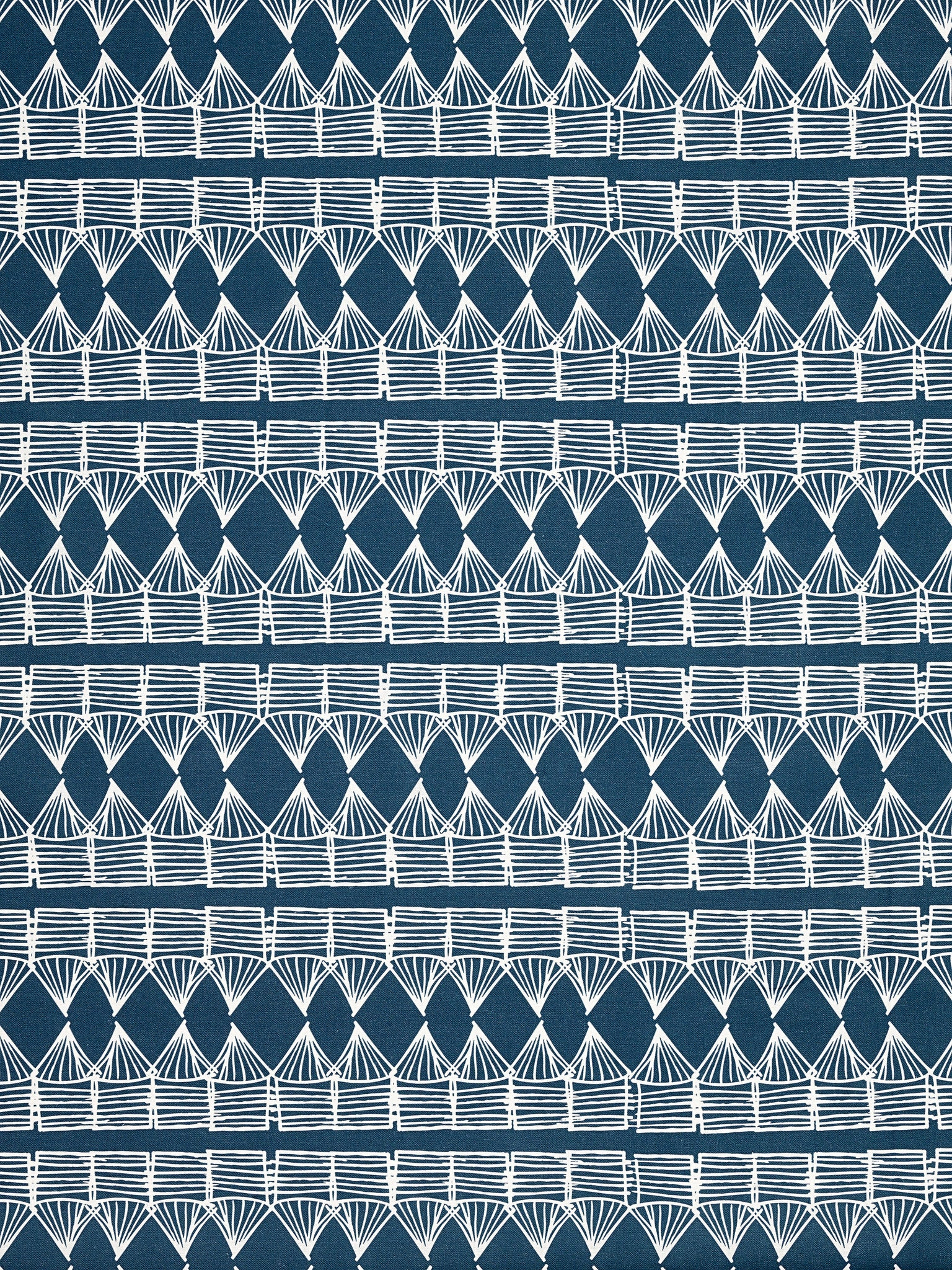 Tiki Huts Pattern Cotton Linen Designer Home Decor Fabric by the meter or by the yard in Dark Petrol Blue (Navy) for curtains, blinds, upholstery ships from Canada worldwide including USA