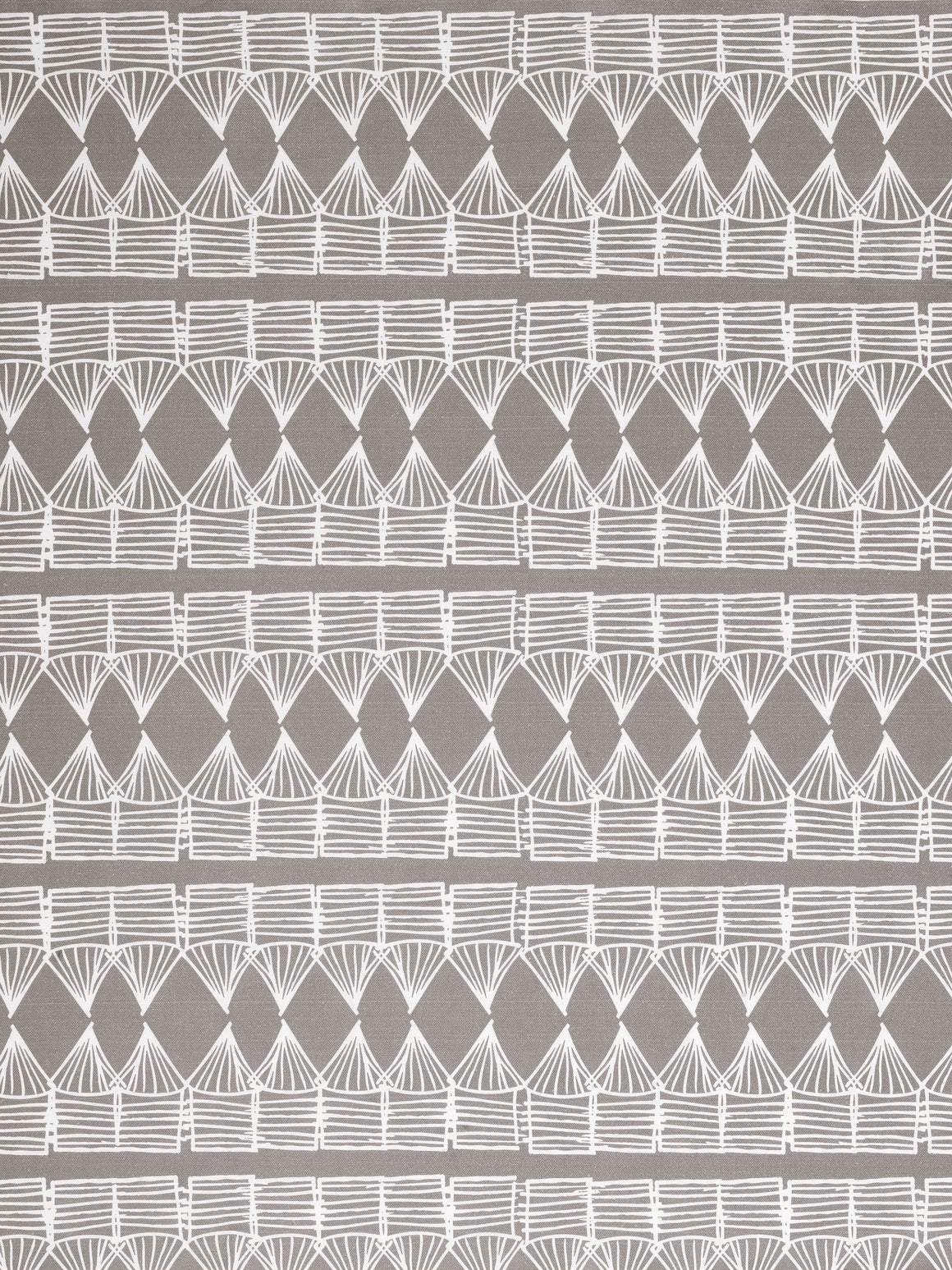 Tiki Huts Pattern Cotton Linen Fabric by the meter in Light Dove Grey