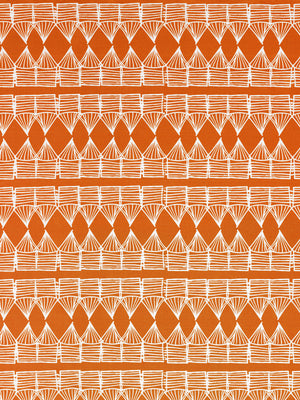 Tiki Huts Pattern Cotton Linen Fabric by the meter in Bright Pumpkin Orange