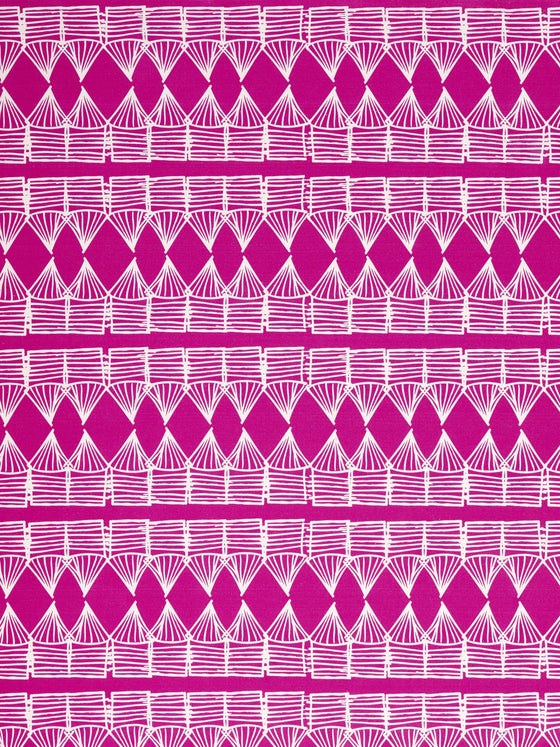 Tiki Huts Pattern Cotton Linen Fabric by the meter in Bright Fuchsia Pink