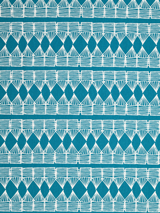 Tiki Huts Pattern Cotton Linen Fabric by the meter in Bright Turquoise Blue