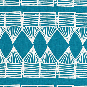 Tiki Huts Pattern Cotton Linen Home Decor Fabric by the meter or by the yard in Bright Turquoise Blue for curtains, blinds, upholstery ships form Canada (USA)