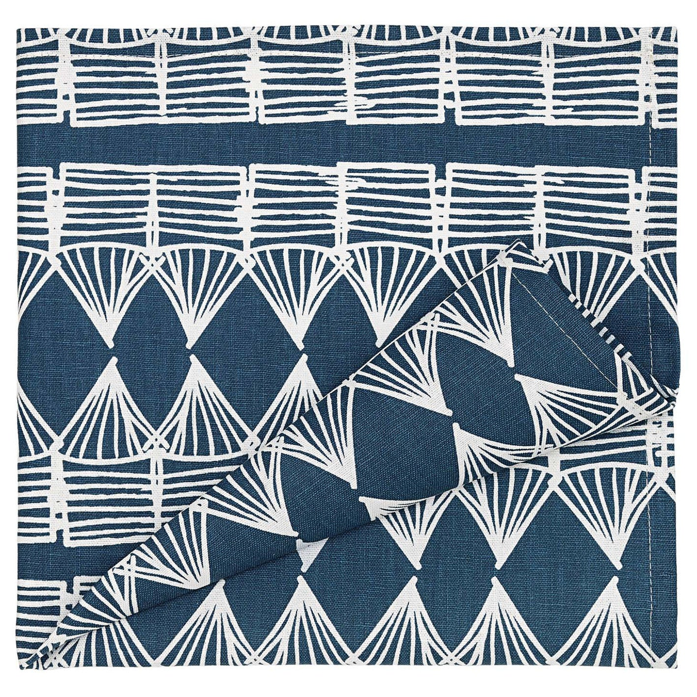 Tiki Huts Patterned Linen Napkins in Dark Petrol Blue