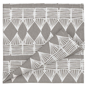 Tiki Huts Patterned Linen Napkins in Light Dove Grey