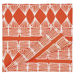 Tiki Huts Pattern Cotton Linen Napkin in Bright Orange