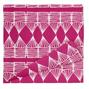 Tiki Huts Patterned Cotton Linen Napkins in Hot Fuchsia Pink