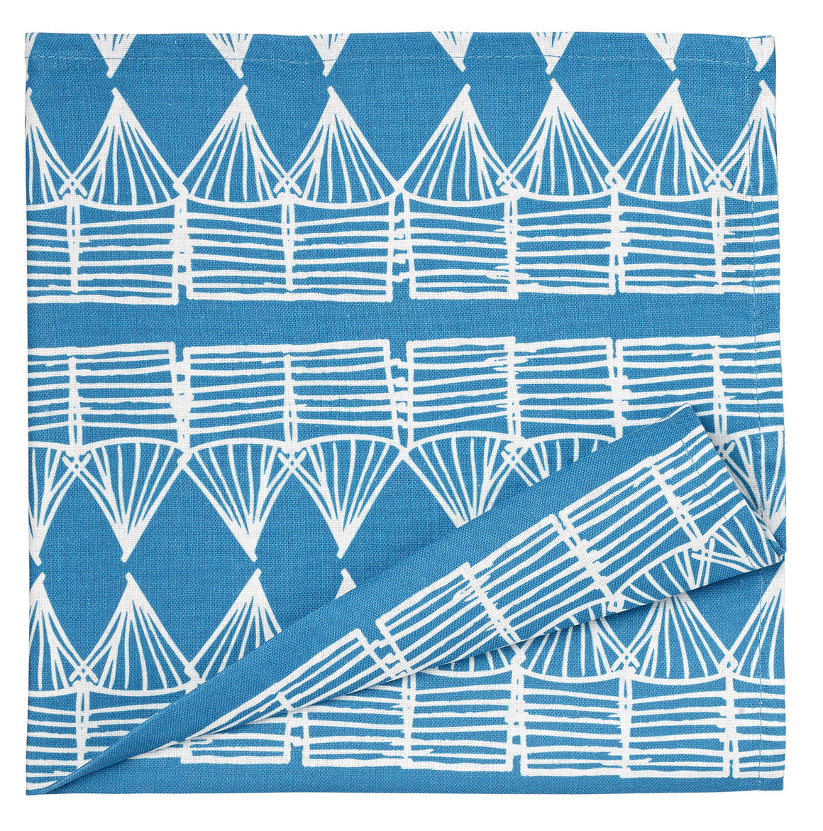 Tiki Huts Patterned Cotton Linen Napkins in Turquoise Blue