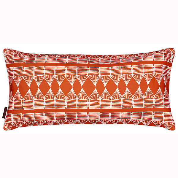 Tiki Huts Pattern Rectangle Linen Cushion in Bright Pumpkin Orange 30x60cm