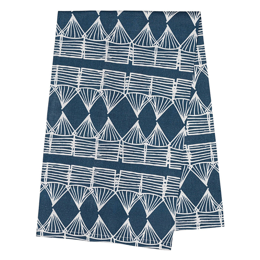 Huts Tea Towel - Petrol Blue