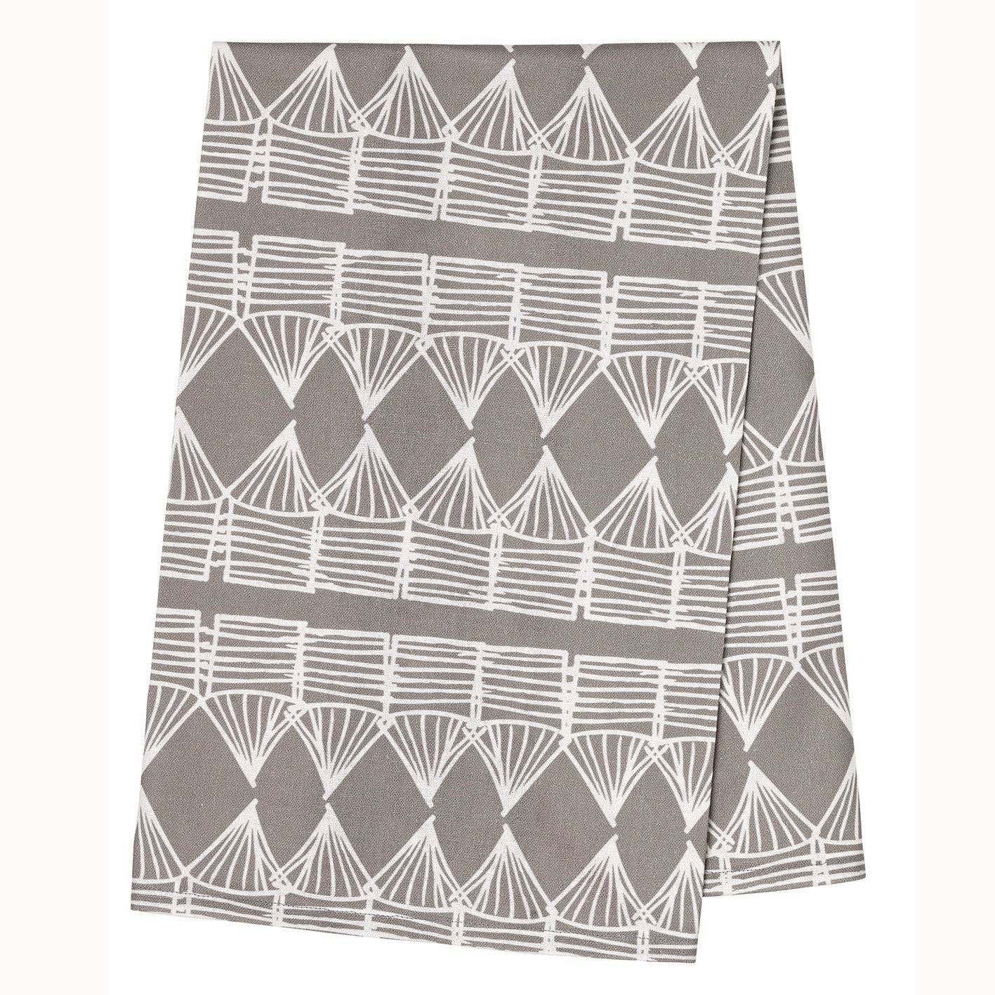 Huts Tea Towel - Dove Grey