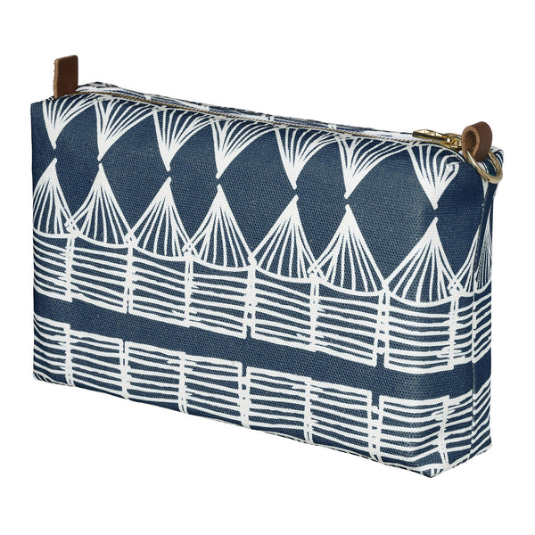 Tiki Huts Pattern Canvas Wash (toiletry) Bag in Dark Petrol Blue