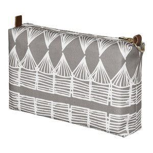 Tiki Huts Pattern Canvas Wash or toiletry travel Bag in Light Dove Grey Perfects for all your beauty, cosmetics or shaving kit Ships from Canada (USA)