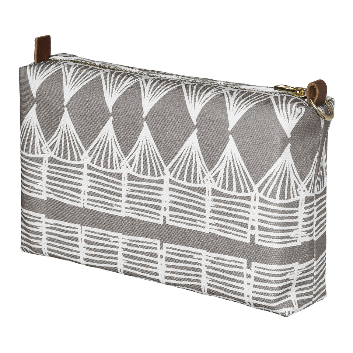 Tiki Huts Pattern Canvas Wash (toiletry) Bag in Light Dove Grey