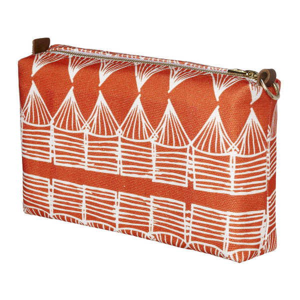 Tiki Huts Pattern Canvas Wash (toiletry) Bag in Bright Pumpkin Orange