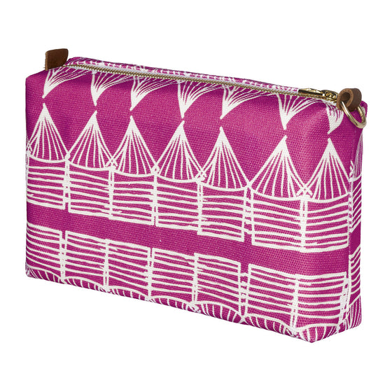 Tiki Huts Pattern Canvas Wash (toiletry) Bag in Bright Fuchsia Pink