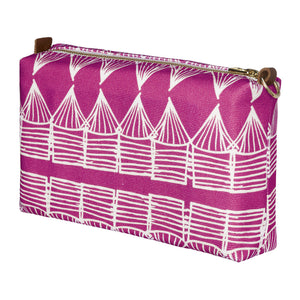 Tiki Huts Pattern Canvas Wash or toiletry travel Bag in Bright Fuchsia Pink Perfect for all your beauty and cosmetics while travelling Ships from Canada (USA)