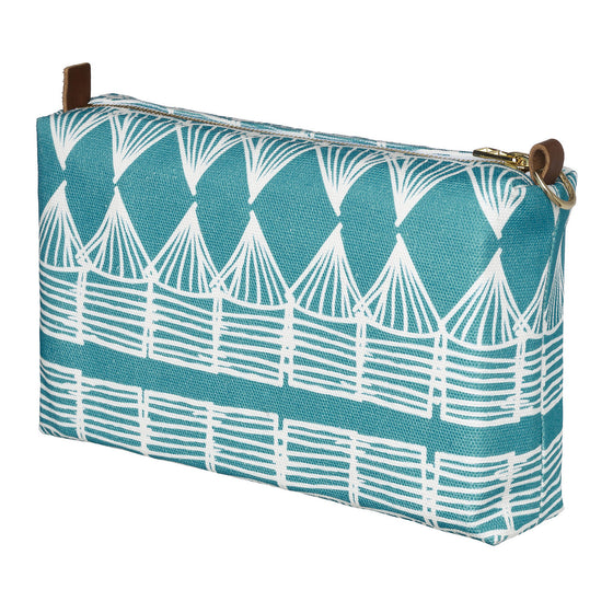 Tiki Huts Pattern Canvas Wash (toiletry) Bag in Turquoise Blue
