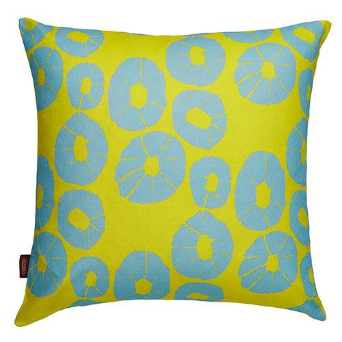 "Jellyfish pattern-designer decorative throw pillow in Mustard yellow and winter blue 55cm (22"") ships from Canada worldwide including the USA"