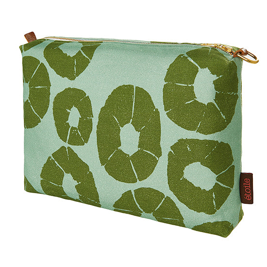 Jellyfish pattern canvas water and stain resistant vanity or toiletry bag in Sea Foam Green and Olive ships from canada worldwide including the USA