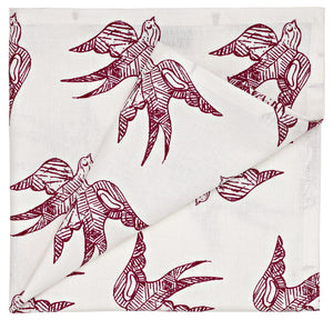 Katia Swallow Pattern Linen Cotton Napkins in Vermilion Red
