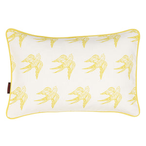 Katia Swallow Bird Pattern Rectangle Cushion in Maize Yellow 31x46cm