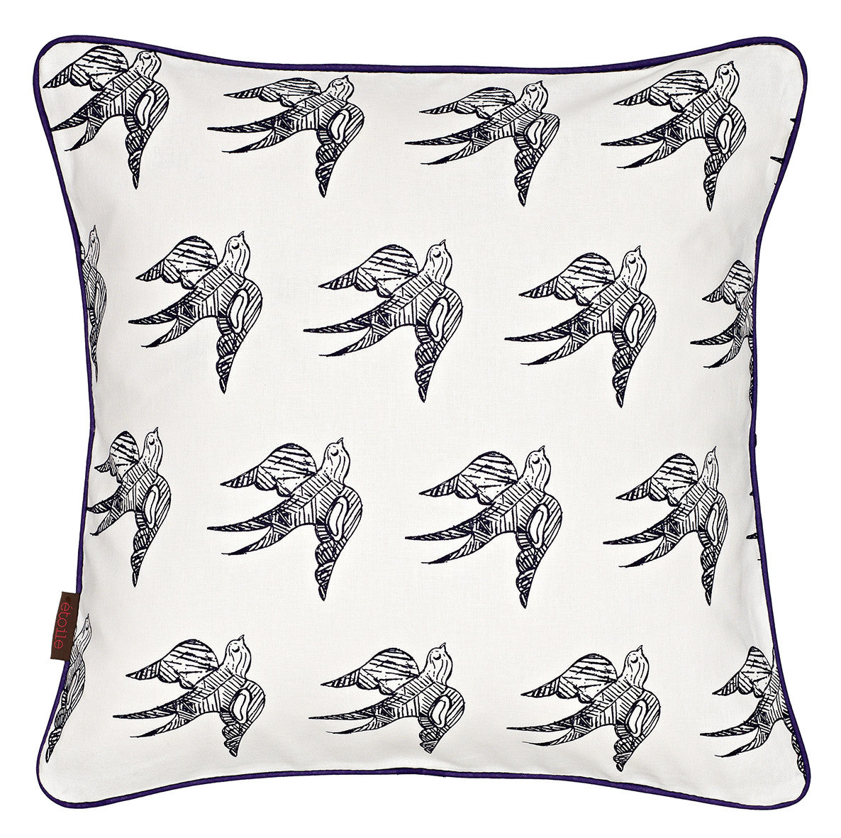 "Katia Swallow Bird Pattern Linen Throw Pillow in Dark Aubergine Purple 45x45cm 18x18"" Ships from Canada to USA"