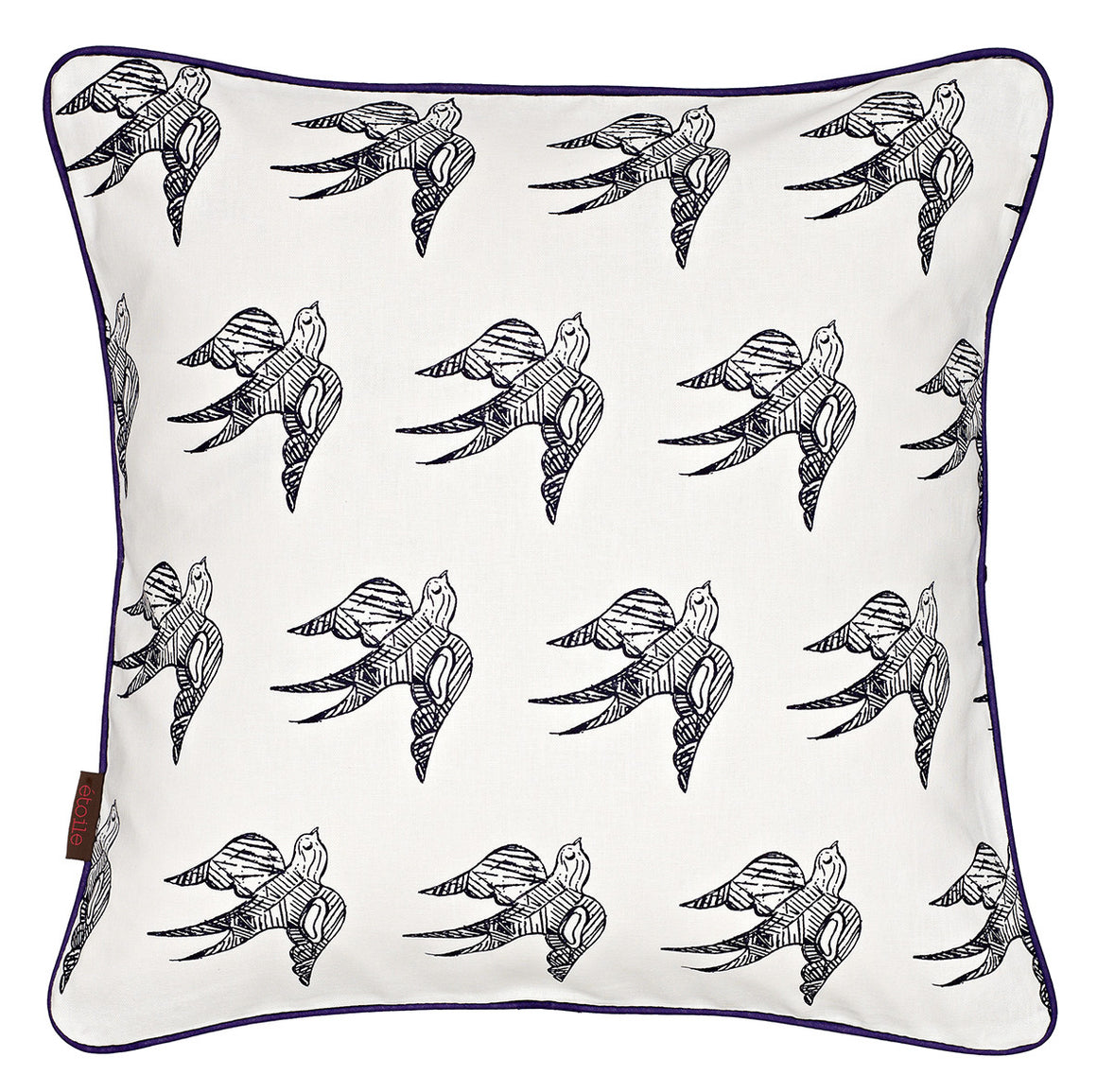 Katia Swallow Bird Pattern Linen Cotton Cushion in Dark Aubergine Purple 45x45cm
