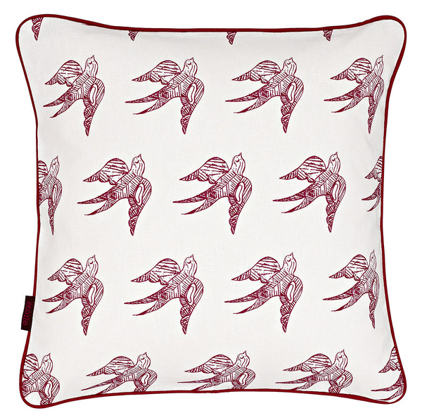 Katia Swallow Bird Pattern Cotton Linen Cushion in Dark Vermilion Red 45x45cm
